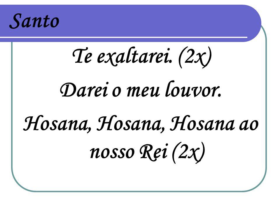 Santo Te exaltarei. (2x) Darei o meu louvor. Hosana, Hosana, Hosana ao nosso Rei (2x)
