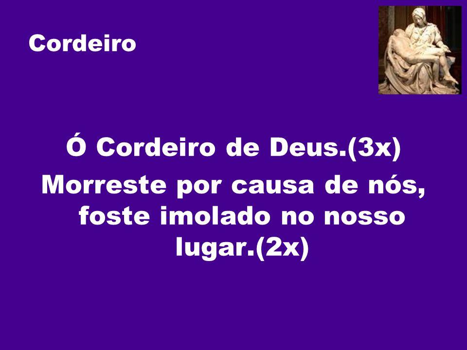 Cordeiro Ó Cordeiro de Deus.(3x) Morreste por causa de nós, foste imolado no nosso lugar.(2x)