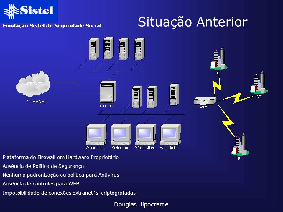 Fundação Sistel de Seguridade Social Douglas Hipocreme Impossibilidade de conexões extranet´s criptografadas Plataforma de Firewall em Hardware Propri