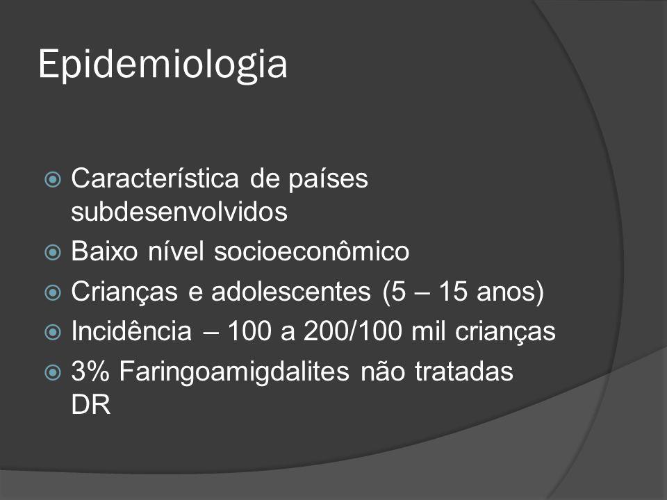 Epidemiologia Característica de países subdesenvolvidos Baixo nível socioeconômico Crianças e adolescentes (5 – 15 anos) Incidência – 100 a 200/100 mi