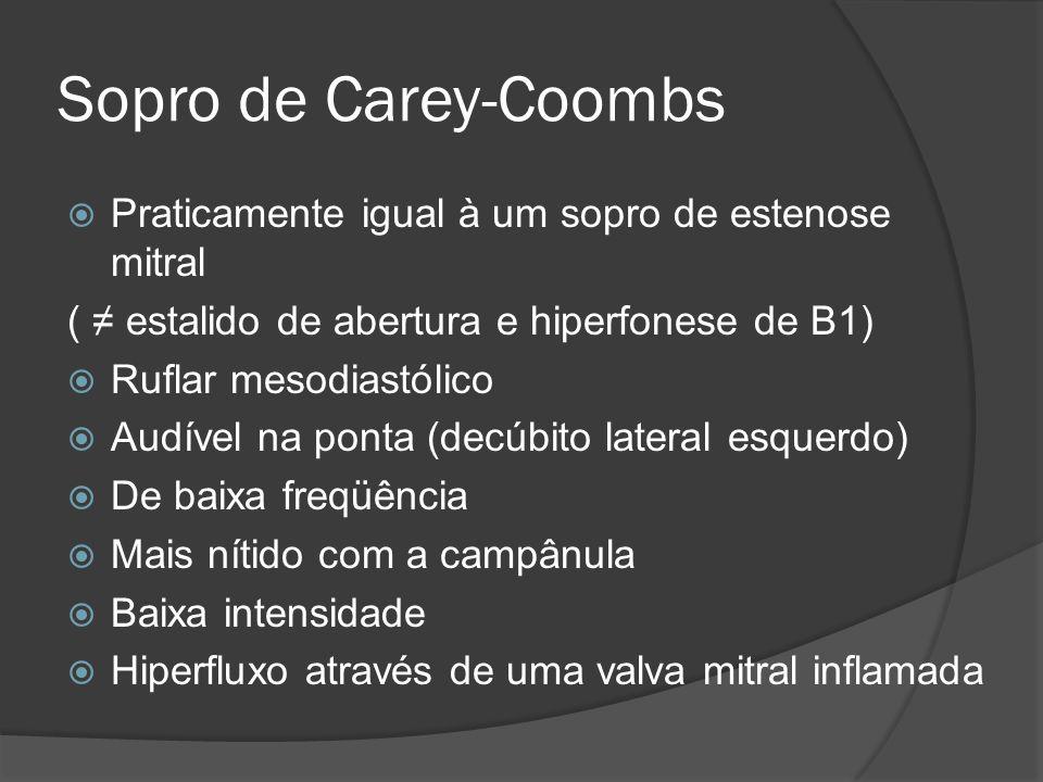 Sopro de Carey-Coombs Praticamente igual à um sopro de estenose mitral ( estalido de abertura e hiperfonese de B1) Ruflar mesodiastólico Audível na po