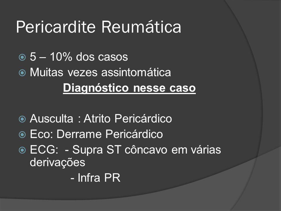 Pericardite Reumática 5 – 10% dos casos Muitas vezes assintomática Diagnóstico nesse caso Ausculta : Atrito Pericárdico Eco: Derrame Pericárdico ECG: