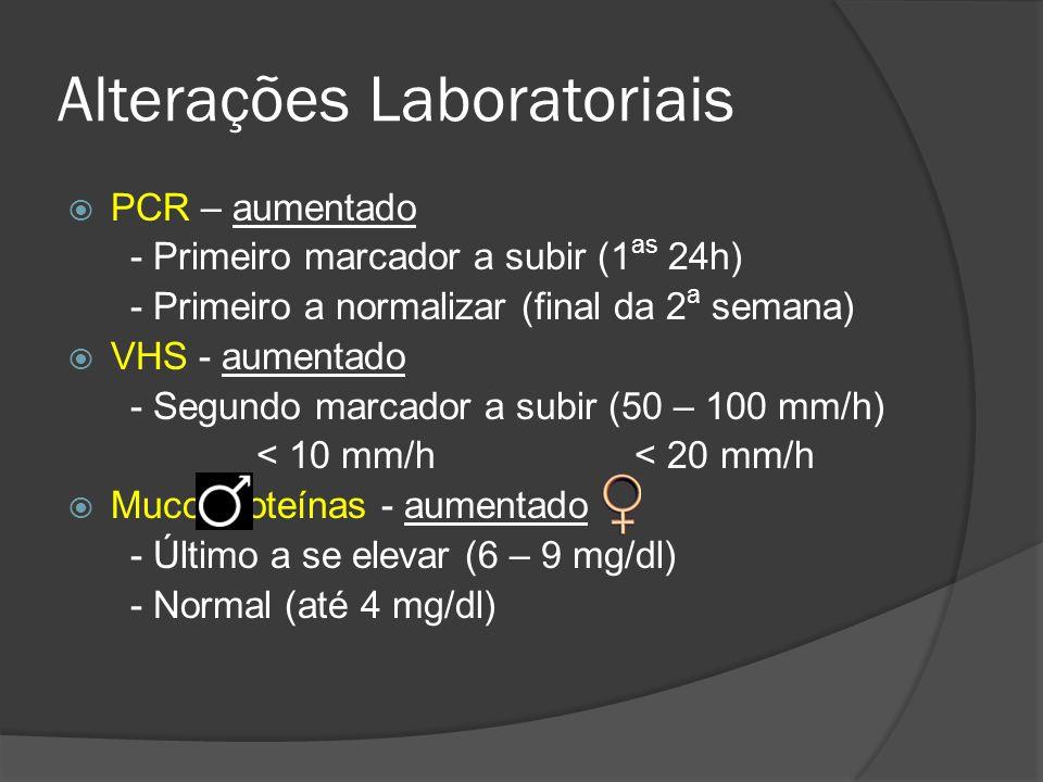 Alterações Laboratoriais PCR – aumentado - Primeiro marcador a subir (1 as 24h) - Primeiro a normalizar (final da 2 a semana) VHS - aumentado - Segund