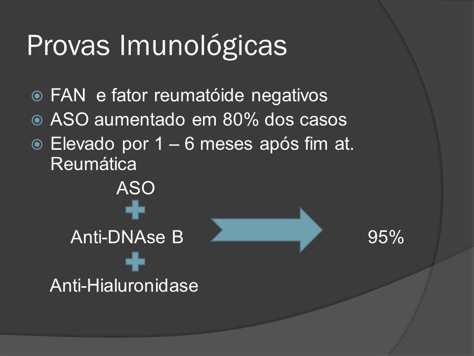 Provas Imunológicas FAN e fator reumatóide negativos ASO aumentado em 80% dos casos Elevado por 1 – 6 meses após fim at. Reumática ASO Anti-DNAse B 95