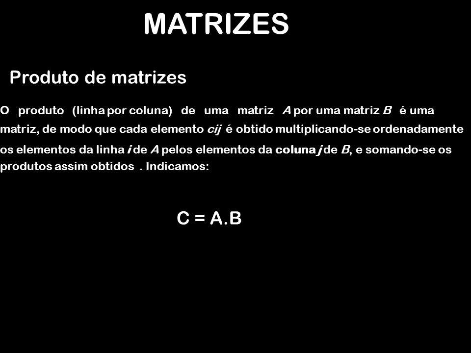 MATRIZES Produto de matrizes EXEMPLO: A = 2 x 3 B = 3 x 1 A.B = 2 x 1 =