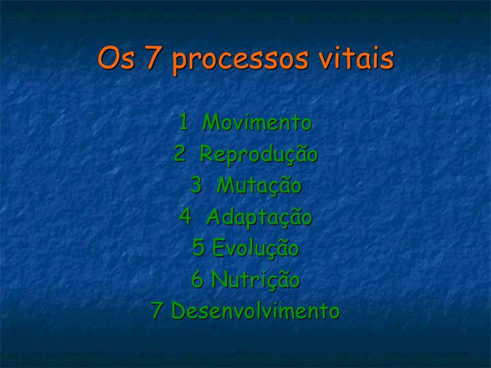 Os 7 processos vitais 1 Movimento 2 Reprodução 3 Mutação 4 Adaptação 5 Evolução 6 Nutrição 7 Desenvolvimento