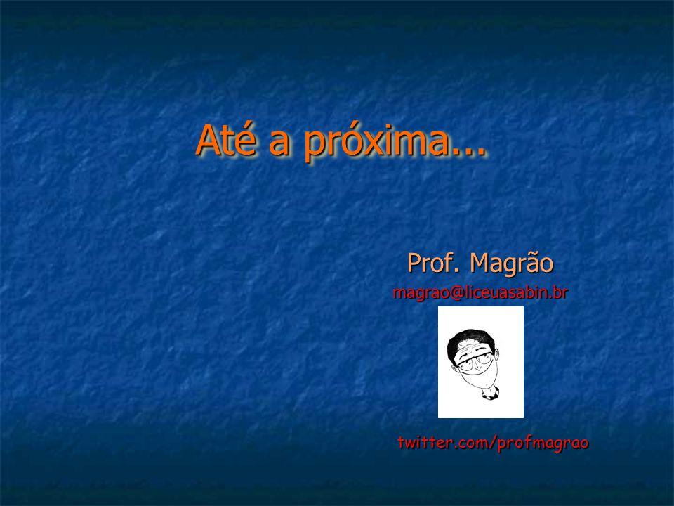 Até a próxima... Até a próxima... Prof. Magrão magrao@liceuasabin.br twitter.com/profmagrao