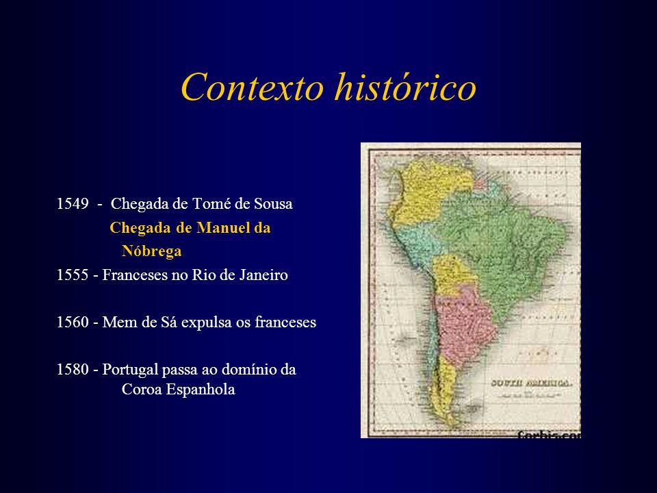 Contexto histórico 1549 - Chegada de Tomé de Sousa Chegada de Manuel da Nóbrega 1555 - Franceses no Rio de Janeiro 1560 - Mem de Sá expulsa os frances