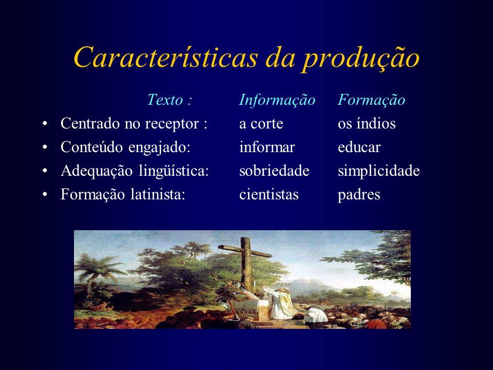 Características da produção Texto :InformaçãoFormação Centrado no receptor :a corte os índios Conteúdo engajado:informar educar Adequação lingüística: