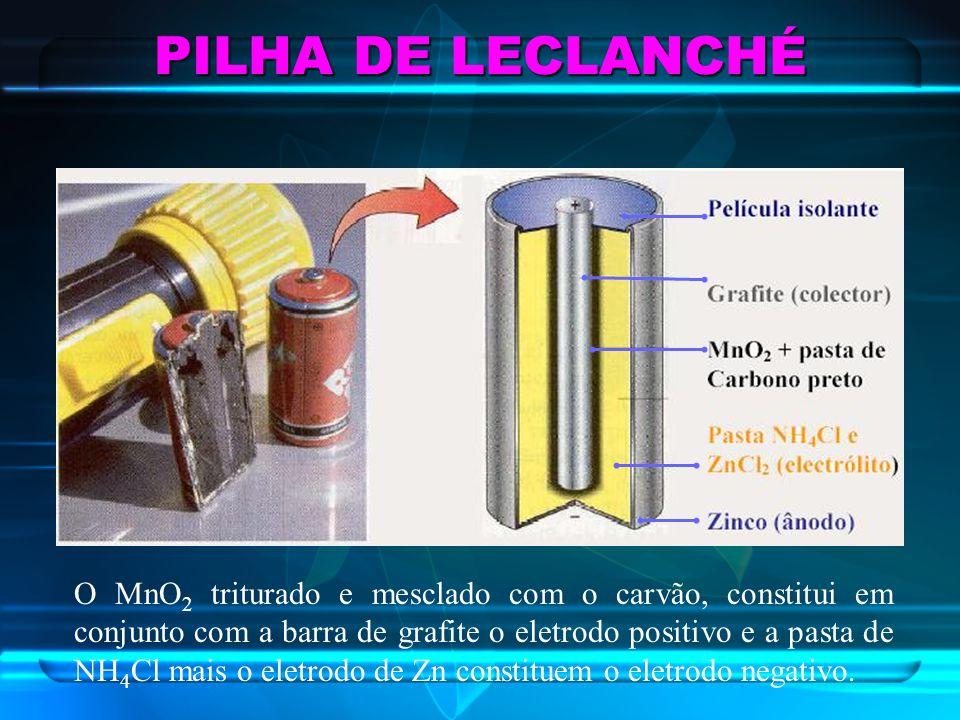 PILHA DE LECLANCHÉ O MnO 2 triturado e mesclado com o carvão, constitui em conjunto com a barra de grafite o eletrodo positivo e a pasta de NH 4 Cl ma