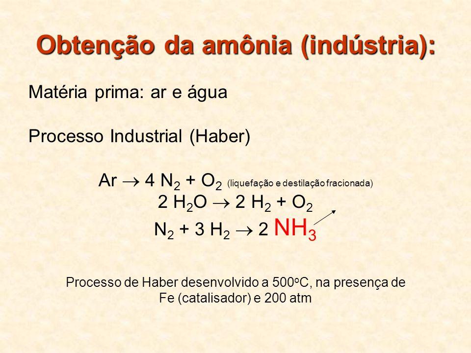 Obtenção da amônia (indústria): Matéria prima: ar e água Processo Industrial (Haber) Ar 4 N 2 + O 2 (liquefação e destilação fracionada) 2 H 2 O 2 H 2