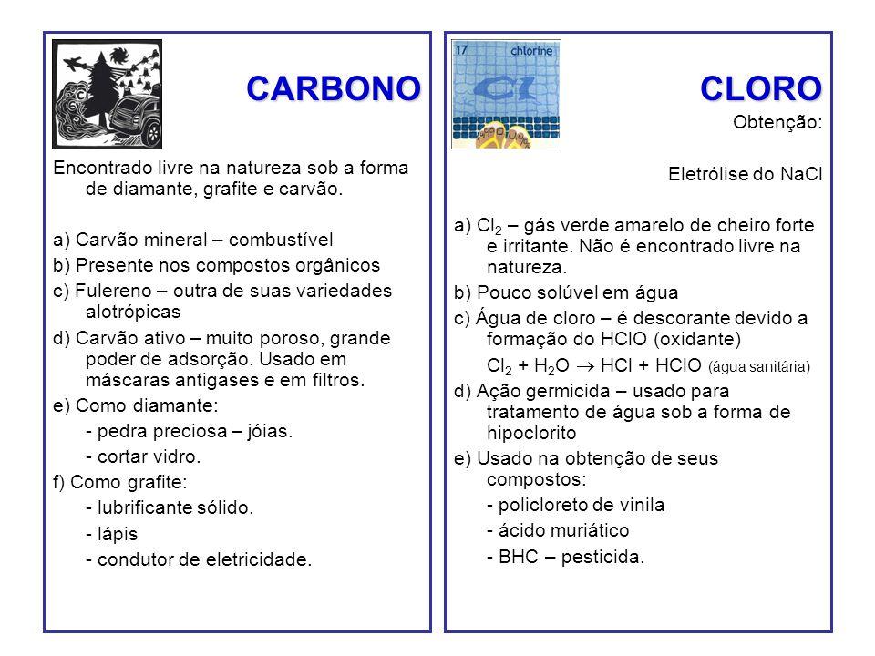 CARBONO Encontrado livre na natureza sob a forma de diamante, grafite e carvão. a) Carvão mineral – combustível b) Presente nos compostos orgânicos c)