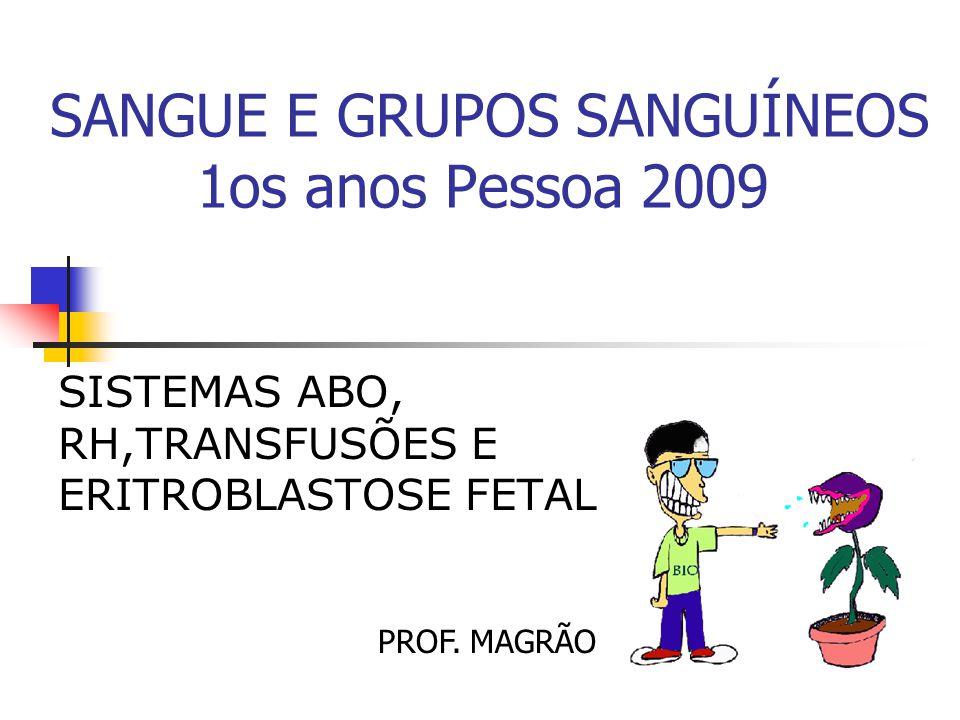 SANGUE E GRUPOS SANGUÍNEOS 1os anos Pessoa 2009 SISTEMAS ABO, RH,TRANSFUSÕES E ERITROBLASTOSE FETAL PROF. MAGRÃO