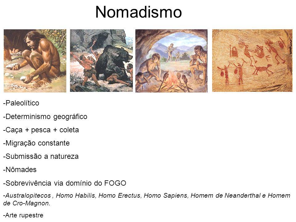 Nomadismo -Paleolítico -Determinismo geográfico -Caça + pesca + coleta -Migração constante -Submissão a natureza -Nômades -Sobrevivência via domínio d