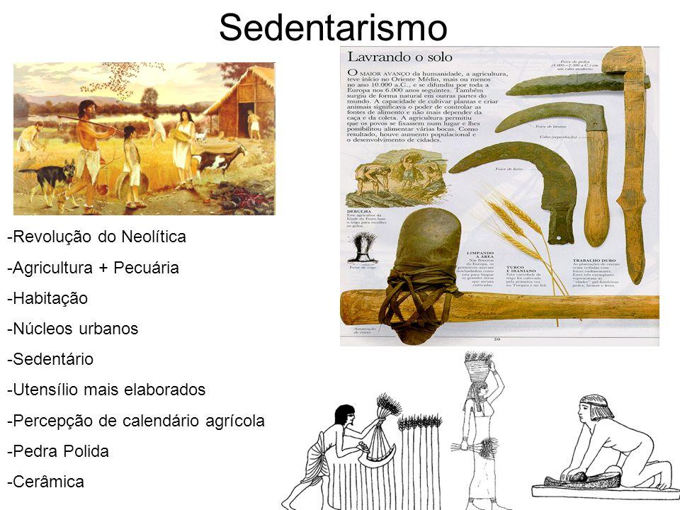 Sedentarismo -Revolução do Neolítica -Agricultura + Pecuária -Habitação -Núcleos urbanos -Sedentário -Utensílio mais elaborados -Percepção de calendár