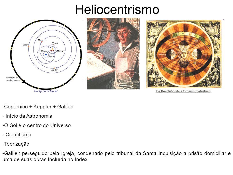 Heliocentrismo -Copérnico + Keppler + Galileu - Início da Astronomia -O Sol é o centro do Universo - Cientifismo -Teorização -Galilei: perseguido pela