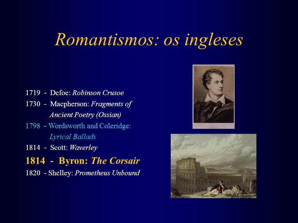Romantismos: os ingleses 1719 - Defoe: Robinson Crusoe 1730 - Macpherson: Fragments of Ancient Poetry (Ossian) 1798 - Wordsworth and Coleridge: Lyrica