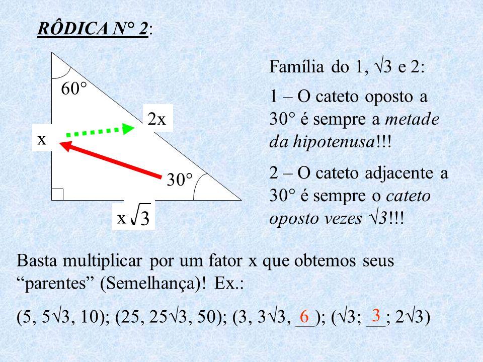 RÔDICA N° 2: 30° 60° 1 2 3 Família do 1, 3 e 2: 1 – O cateto oposto a 30° é sempre a metade da hipotenusa!!! 2 – O cateto adjacente a 30° é sempre o c