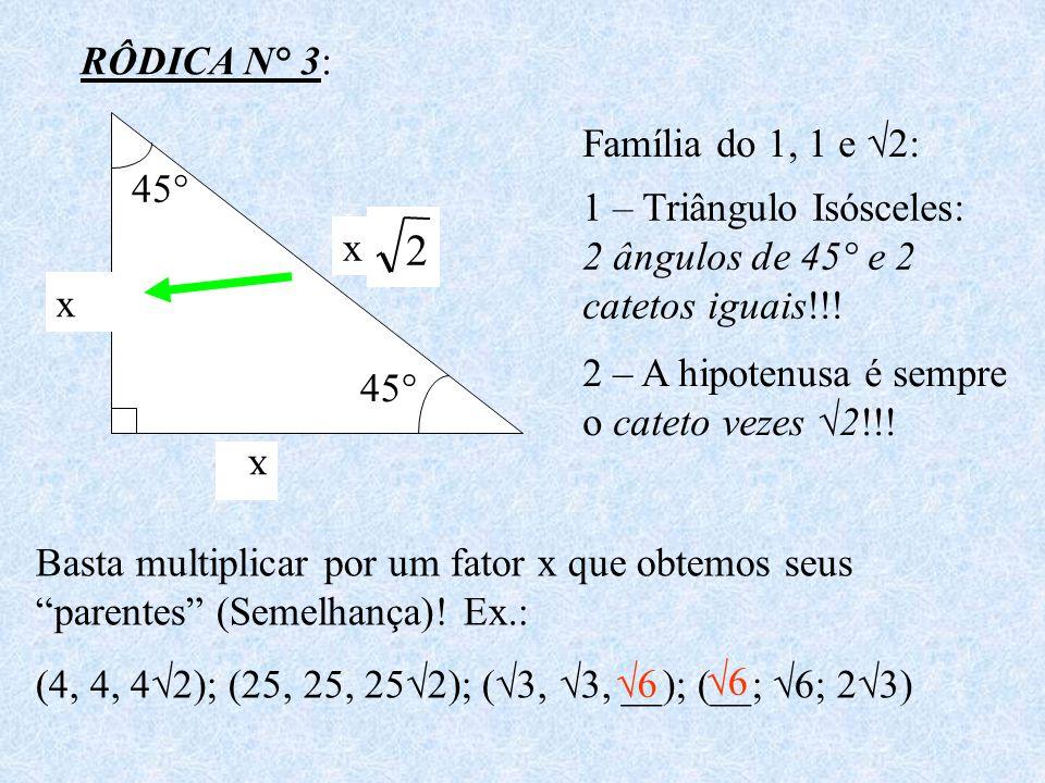 RÔDICA N° 3: 45° 1 1 2 Família do 1, 1 e 2: 1 – Triângulo Isósceles: 2 ângulos de 45° e 2 catetos iguais!!! 2 – A hipotenusa é sempre o cateto vezes 2