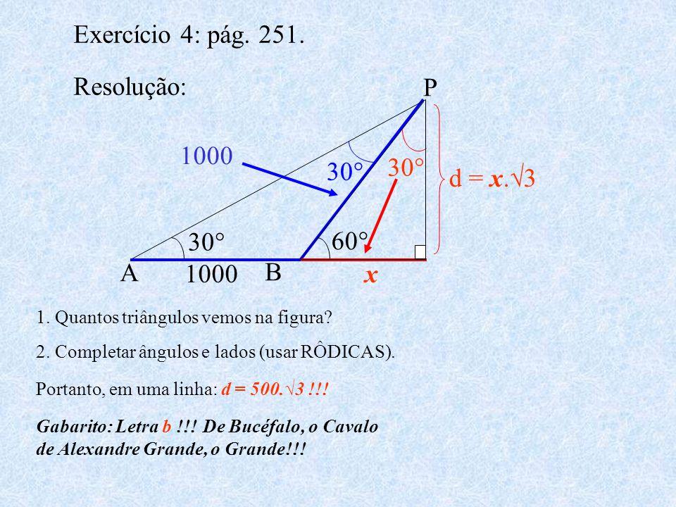 Exercício 4: pág. 251. Resolução: 1. Quantos triângulos vemos na figura? 2. Completar ângulos e lados (usar RÔDICAS). 30° x A B P 60° 1000 d = x.3 30°