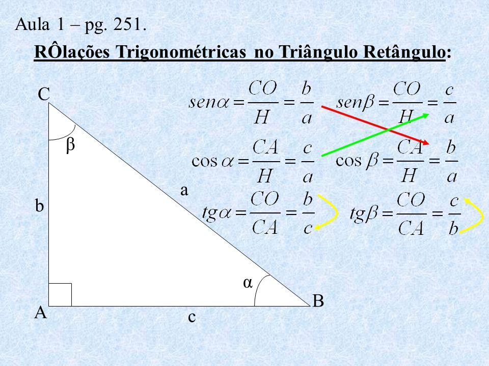 RÔlações Trigonométricas no Triângulo Retângulo: a A b B c C α β Aula 1 – pg. 251.
