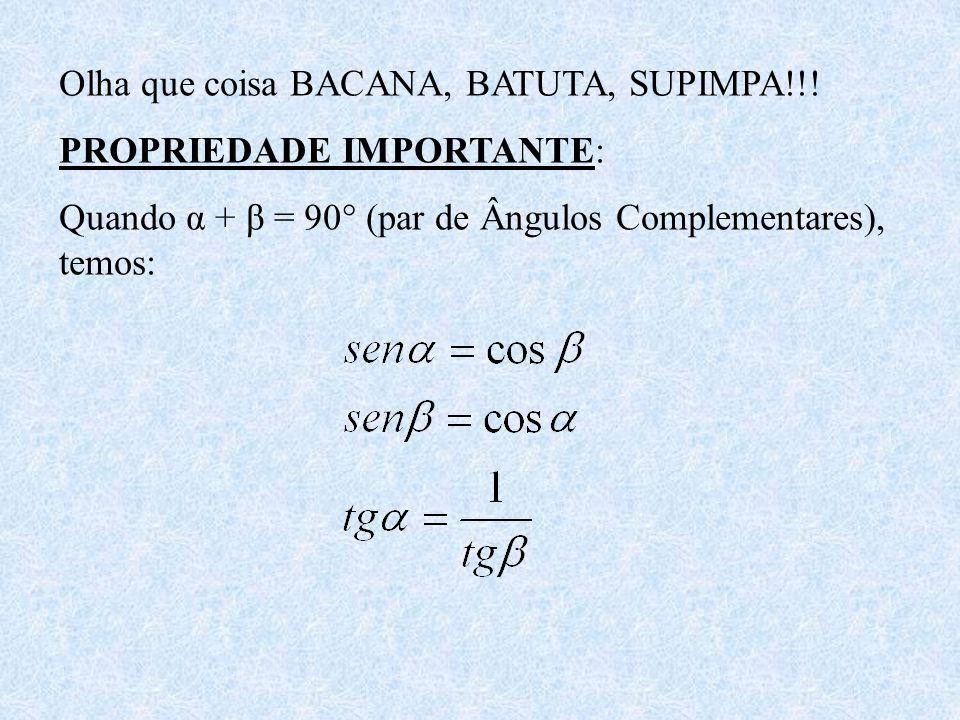 Olha que coisa BACANA, BATUTA, SUPIMPA!!! PROPRIEDADE IMPORTANTE: Quando α + β = 90° (par de Ângulos Complementares), temos: