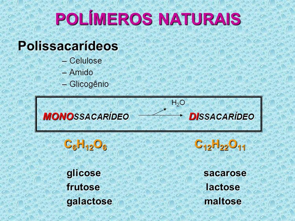 POLÍMEROS NATURAIS Polissacarídeos –Celulose –Amido –Glicogênio MONO SSACARÍDEO DI SSACARÍDEO MONO SSACARÍDEO DI SSACARÍDEO C 6 H 12 O 6 C 12 H 22 O 11 C 6 H 12 O 6 C 12 H 22 O 11 glicose sacarose glicose sacarose frutose lactose frutose lactose galactose maltose galactose maltose H2OH2O