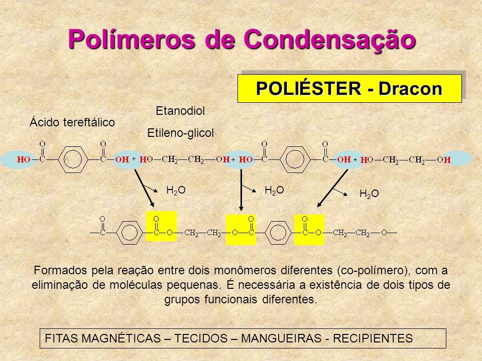 Polímeros de Condensação H2OH2OH2OH2O H2OH2O POLIÉSTER - Dracon Ácido tereftálico Etanodiol Etileno-glicol Formados pela reação entre dois monômeros diferentes (co-polímero), com a eliminação de moléculas pequenas.