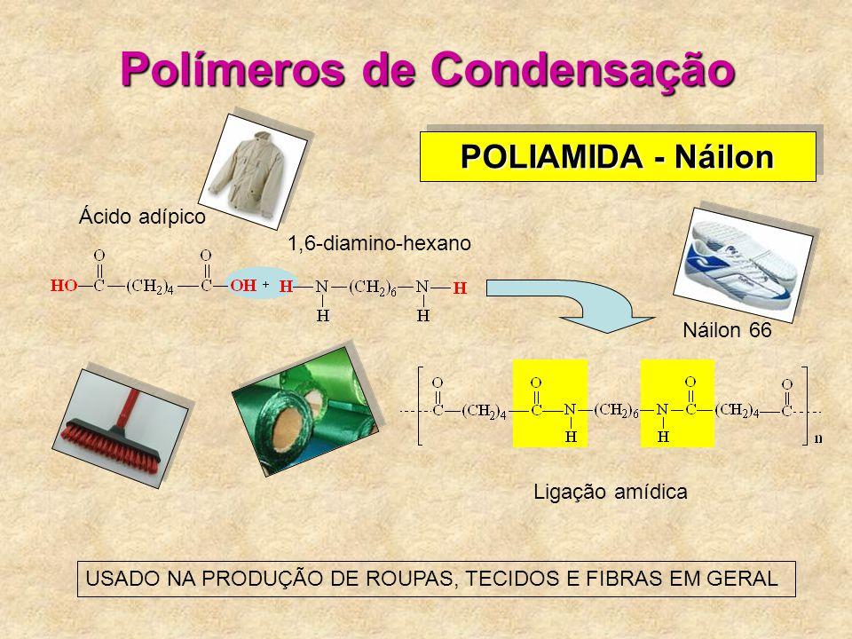 Polímeros de Condensação POLIAMIDA - Náilon Ácido adípico 1,6-diamino-hexano Ligação amídica USADO NA PRODUÇÃO DE ROUPAS, TECIDOS E FIBRAS EM GERAL Náilon 66