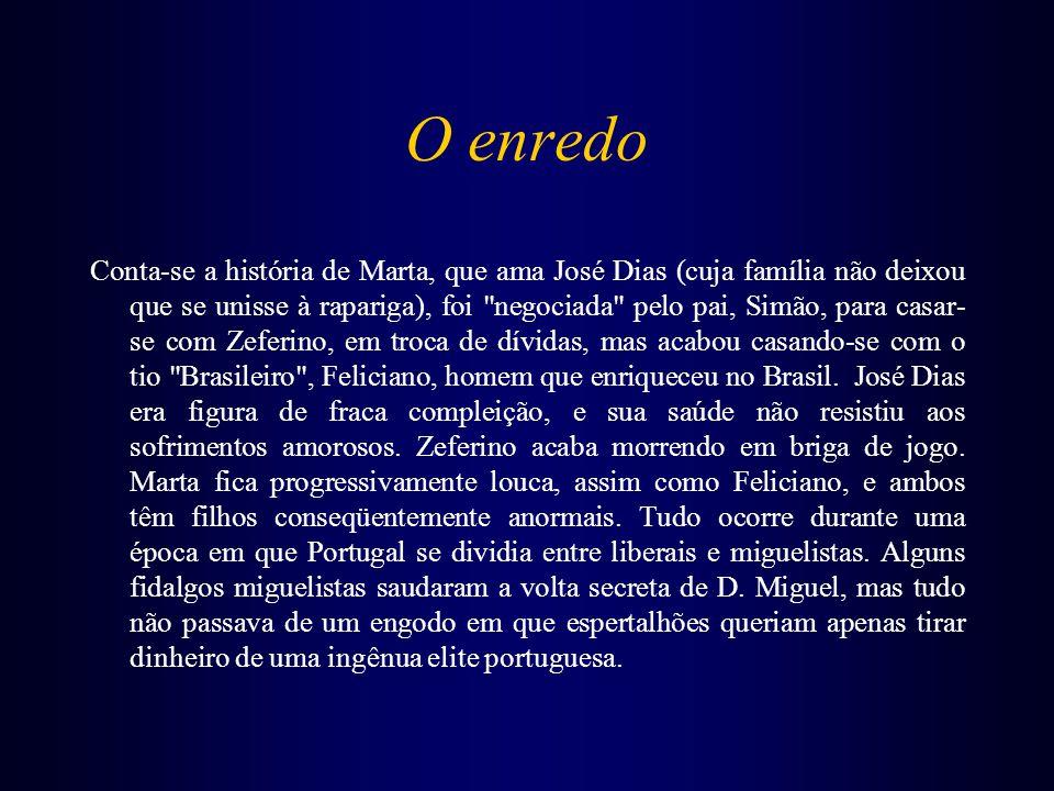 O enredo Conta-se a história de Marta, que ama José Dias (cuja família não deixou que se unisse à rapariga), foi