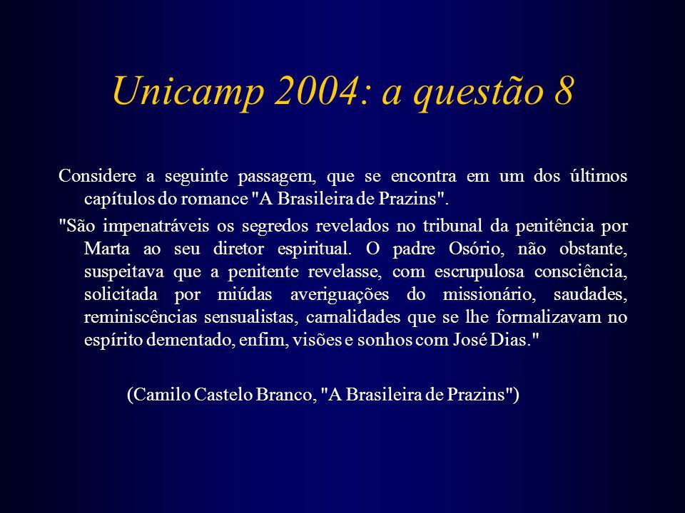 Unicamp 2004: a questão 8 Considere a seguinte passagem, que se encontra em um dos últimos capítulos do romance