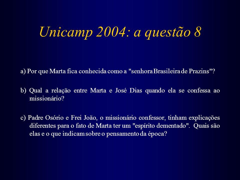 Unicamp 2004: a questão 8 a) Por que Marta fica conhecida como a