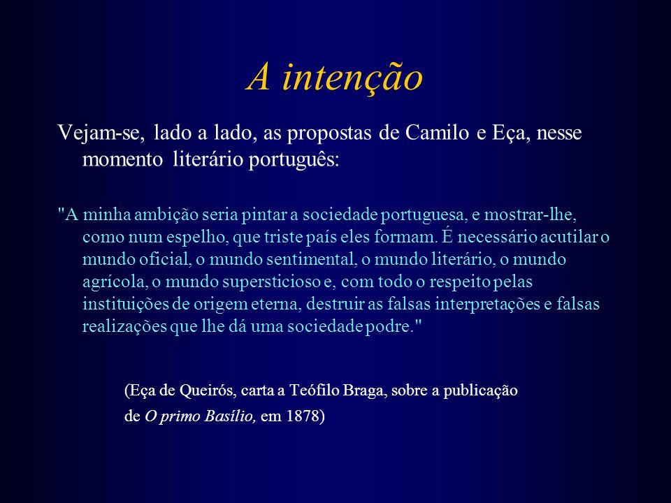 A intenção Vejam-se, lado a lado, as propostas de Camilo e Eça, nesse momento literário português: