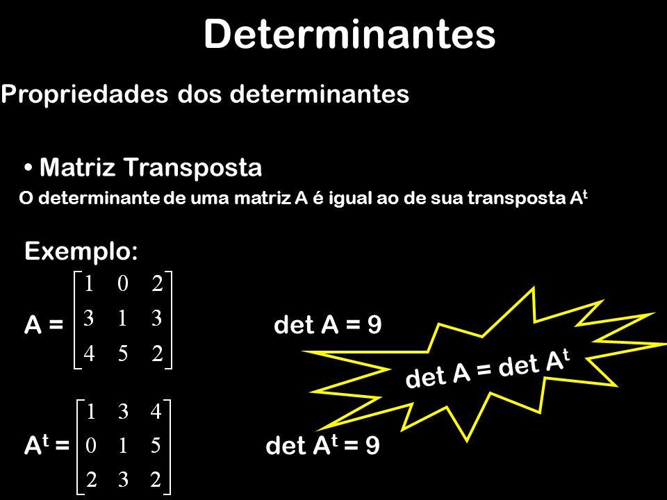 Determinantes Teorema de Binet Propriedades dos determinantes Conseqüências: det (A n ) = (det A) n det (A -1 ) = 1 det A Só existe matriz inversa se det A 0