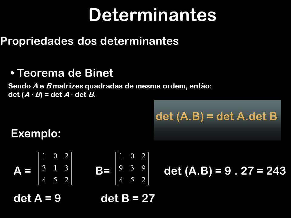 Sendo A e B matrizes quadradas de mesma ordem, então: det (A · B) = det A · det B. Determinantes Propriedades dos determinantes Teorema de Binet Exemp