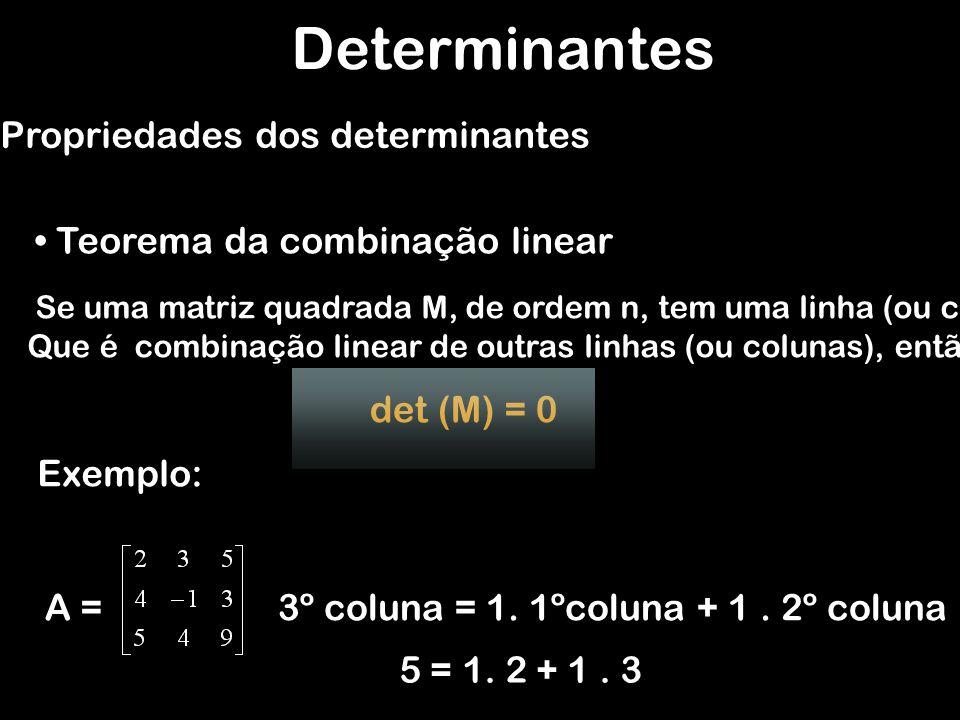 Determinantes Teorema da combinação linear Propriedades dos determinantes Se uma matriz quadrada M, de ordem n, tem uma linha (ou coluna) Que é combin