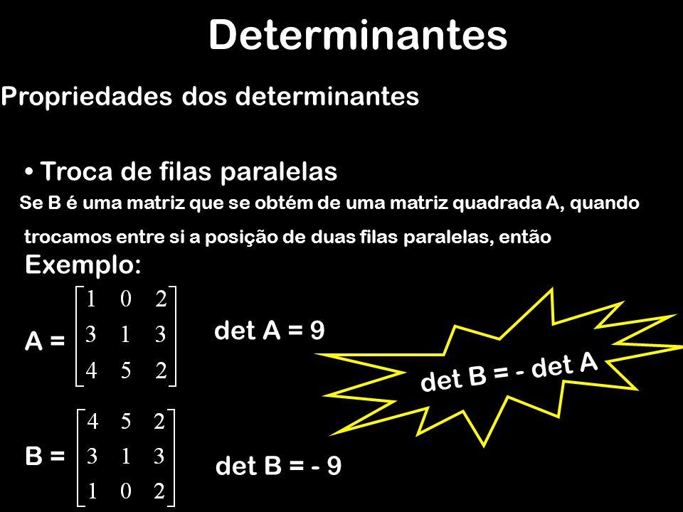 Determinantes Propriedades dos determinantes Filas paralelas iguais Se uma matriz A possui duas filas paralelas (duas linhas ou duas colunas) Formadas por elementos respectivamente iguais, então det A = 0 Exemplo: A = det A = 0