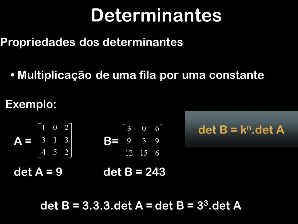 Determinantes Propriedades dos determinantes Fila Nula Exemplo: A = Se os elementos de uma fila qualquer (linha ou coluna) de uma matriz M de ordem n forem todos nulos, então det M = 0 det A = 0