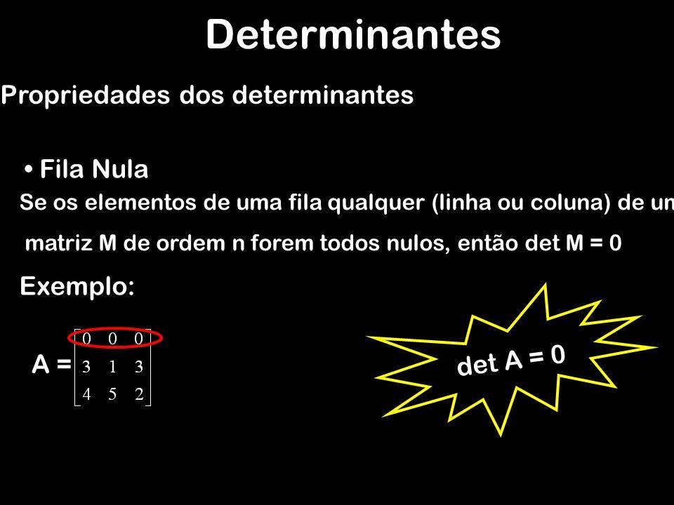 Se A, B e C são matrizes quadradas de mesma ordem, tais que os elementos correspondentes de A, B e C são iguais entre si, exceto os de uma fila, em que os elementos de C são iguais às somas dos seus elementos correspondentes de A e B, então: Determinantes Propriedades dos determinantes Adição de determinantes Exemplo: A =B=C= det A + det B = det C