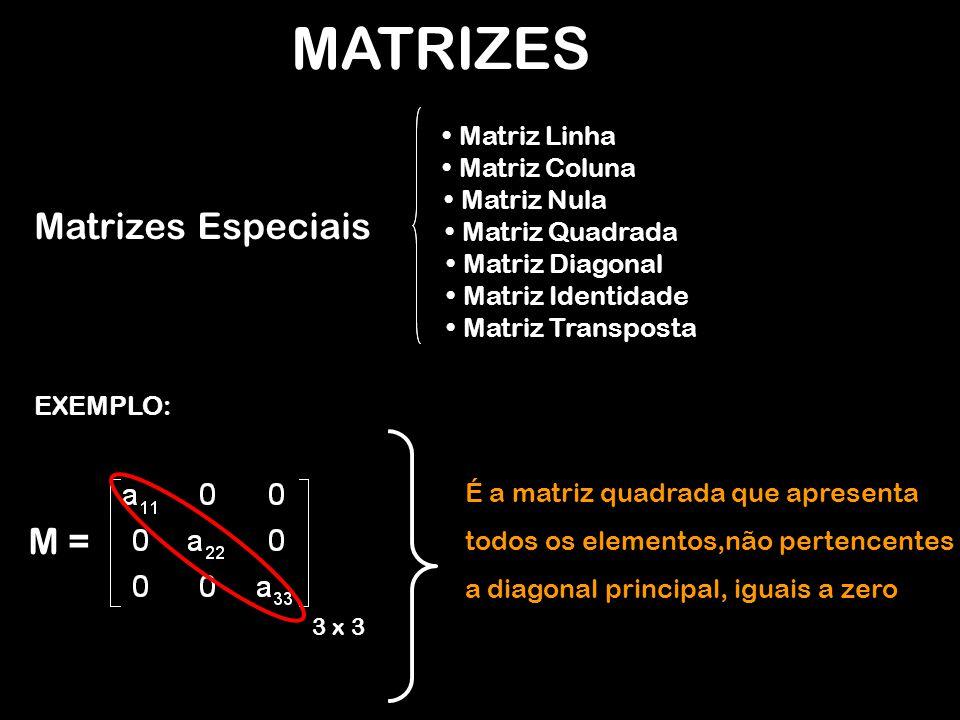 MATRIZES EXEMPLO: M = 3 x 3 É a matriz quadrada que apresenta todos os elementos,não pertencentes a diagonal principal, iguais a zero Matrizes Especiais Matriz Linha Matriz Coluna Matriz Nula Matriz Quadrada Matriz Diagonal Matriz Identidade Matriz Transposta
