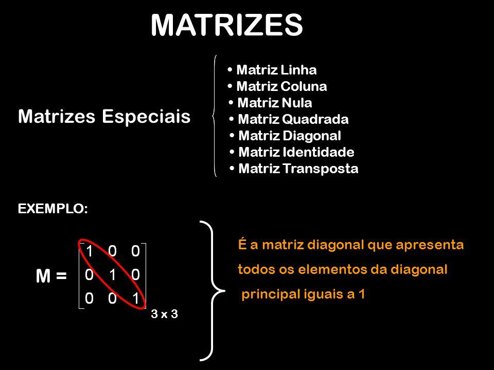 MATRIZES EXEMPLO: M = 3 x 3 É a matriz diagonal que apresenta todos os elementos da diagonal principal iguais a 1 Matrizes Especiais Matriz Linha Matriz Coluna Matriz Nula Matriz Quadrada Matriz Diagonal Matriz Identidade Matriz Transposta