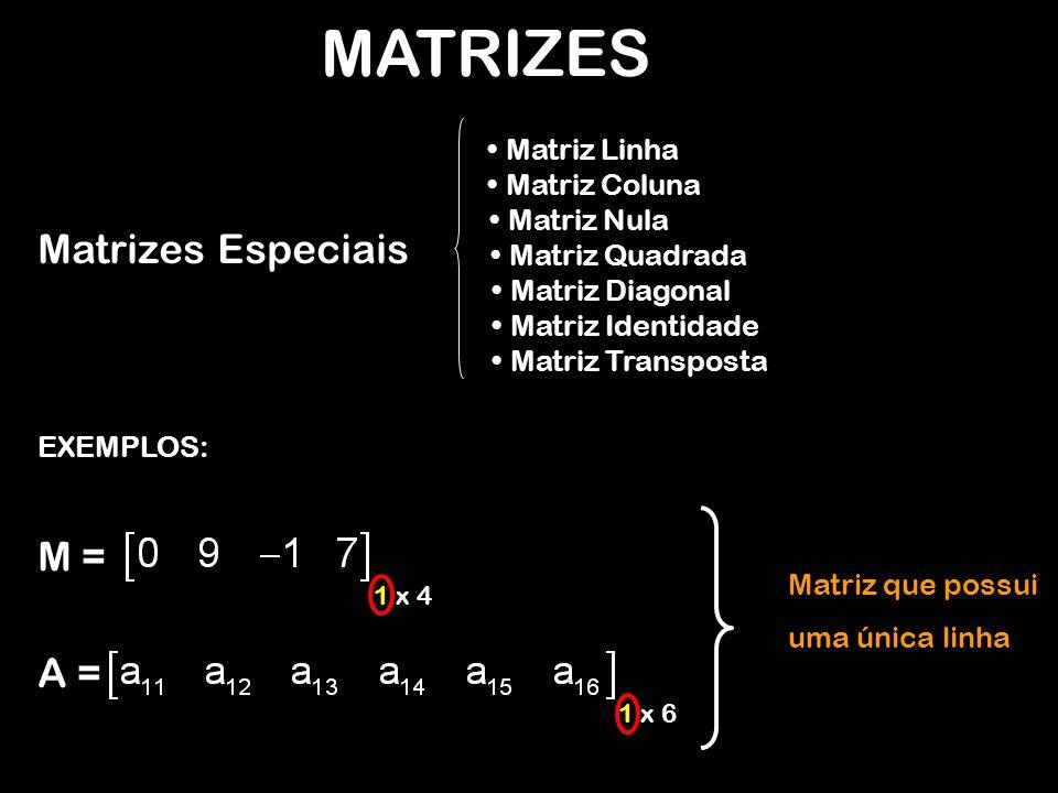MATRIZES Matrizes Especiais Matriz Linha Matriz Coluna Matriz Nula Matriz Quadrada Matriz Diagonal Matriz Identidade Matriz Transposta EXEMPLOS: M = 1 x 4 Matriz que possui uma única linha A = 1 x 6
