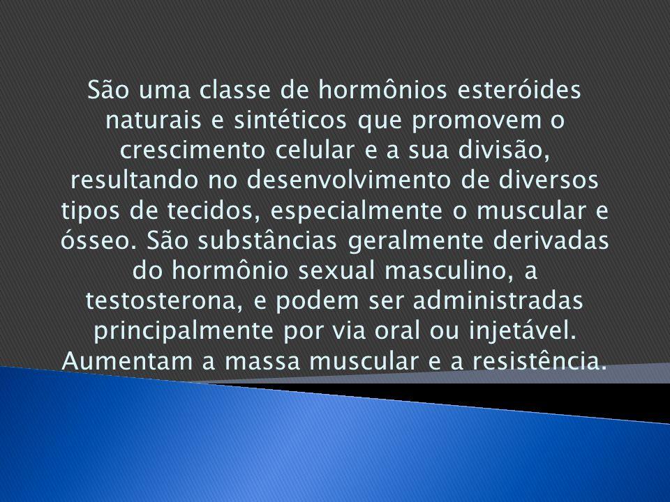 São uma classe de hormônios esteróides naturais e sintéticos que promovem o crescimento celular e a sua divisão, resultando no desenvolvimento de dive