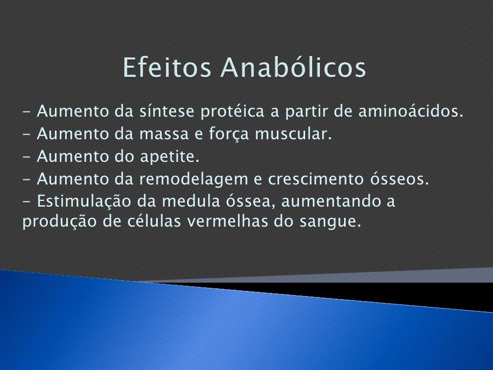 - Aumento da síntese protéica a partir de aminoácidos. - Aumento da massa e força muscular. - Aumento do apetite. - Aumento da remodelagem e crescimen