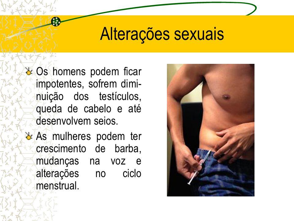 Alterações sexuais Os homens podem ficar impotentes, sofrem dimi- nuição dos testículos, queda de cabelo e até desenvolvem seios.