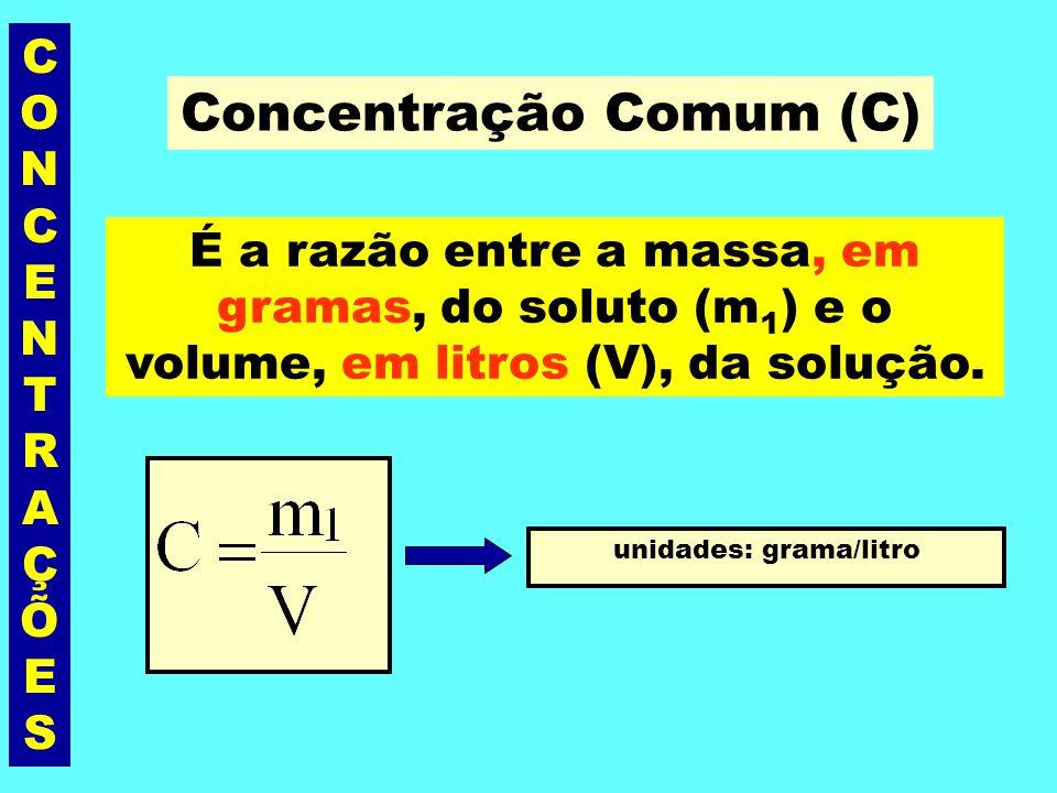 CONCENTRAÇÕESCONCENTRAÇÕES Unidades de massa grama = 10 3 miligramas quilograma (kg) = 10 3 gramas miligrama = 10 -3 gramas = 10 -6 kg Unidades de volume Litro = 10 3 mililitros = dm 3 m 3 = 10 3 litros mililitro = cm 3 = 10 -3 litro