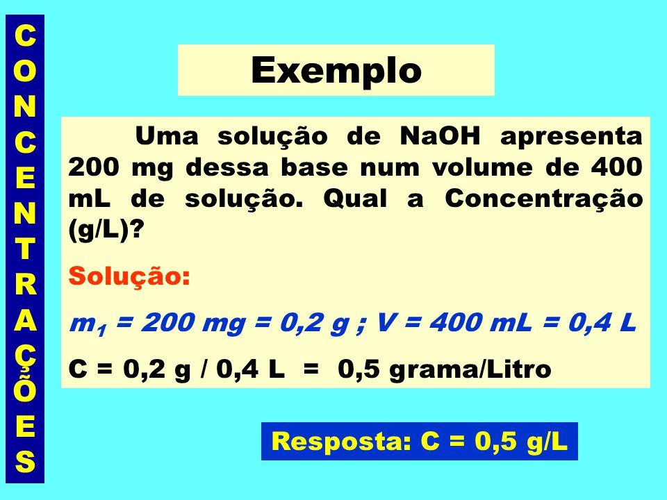 CONCENTRAÇÕESCONCENTRAÇÕES Concentração Comum (C) É a razão entre a massa, em gramas, do soluto (m 1 ) e o volume, em litros (V), da solução. unidades