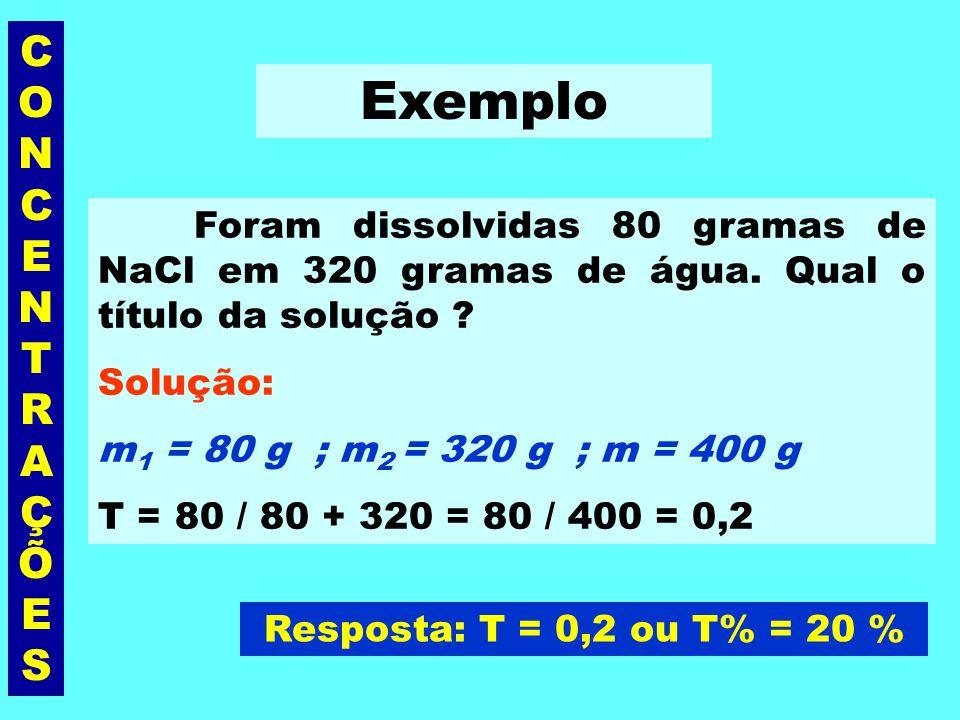 CONCENTRAÇÕESCONCENTRAÇÕES Título ou % em massa (T) É a razão entre a massa, em gramas, do soluto (m 1 ) e a massa, em gramas, da solução(m). sem unid