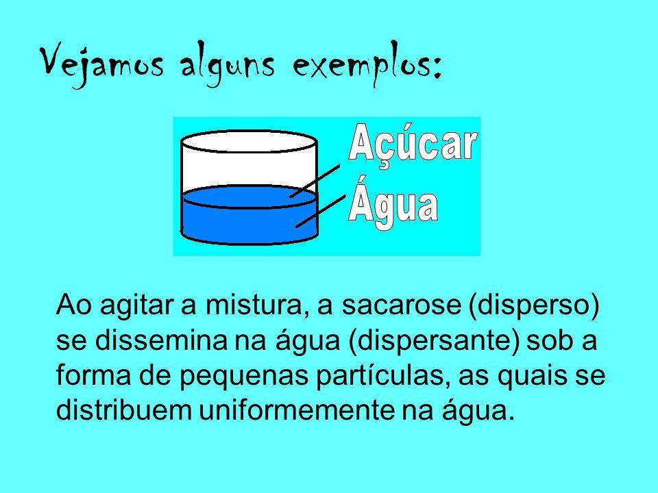 Definição: As dispersões são misturas nas quais uma substância está disseminada na forma de partículas no interior de uma outra substância.