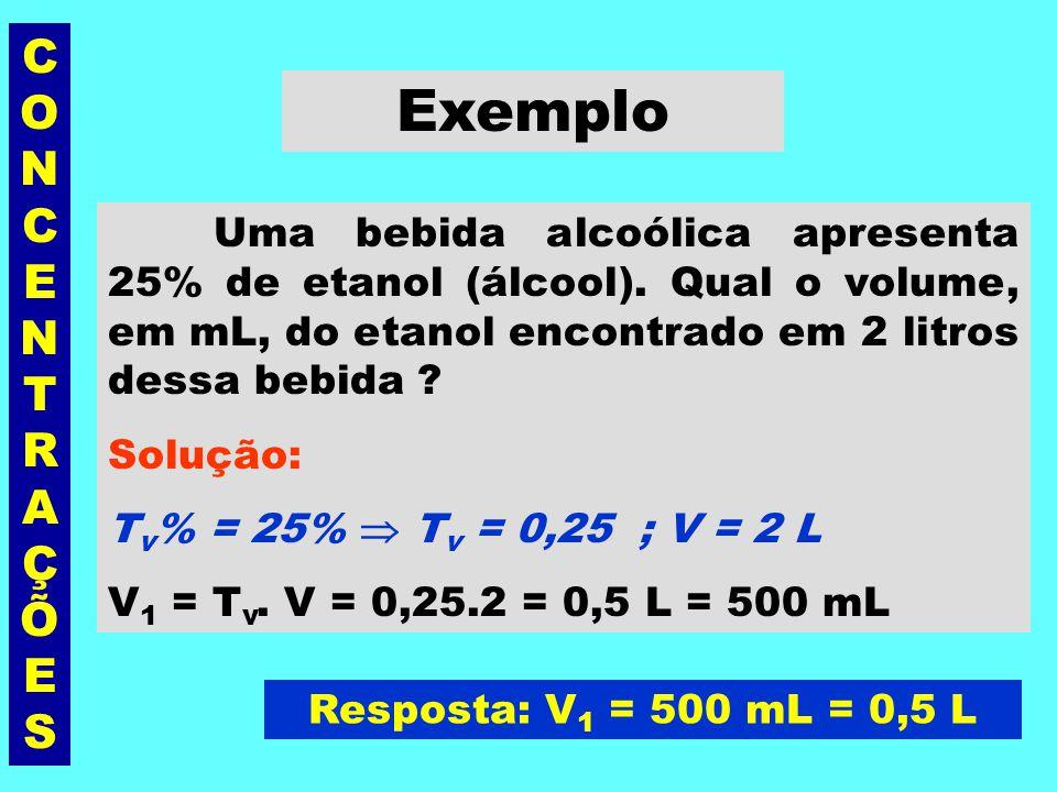 CONCENTRAÇÕESCONCENTRAÇÕES Título em volume (T v ) É a razão entre o volume, em L ou mL, do soluto (V 1 ) e o volume, em L ou mL, da solução(V). sem u
